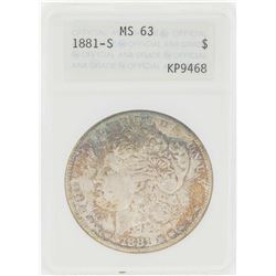 1881-S $1 Morgan Silver Dollar Coin ANA MS63