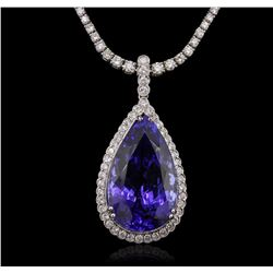 14-18KT White Gold 36.63 ctw Tanzanite and Diamond Pendant W/ Chain