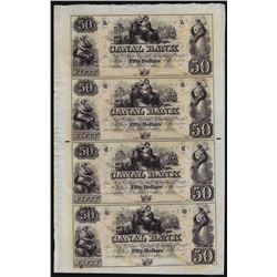 Uncut Sheet of $50 Canal Bank New Orleans Obsolete Notes