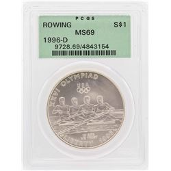 1996-D $1 Rowing Olympic Commemorative Silver Dollar Coin PCGS MS69
