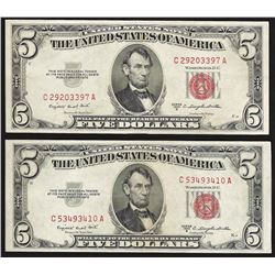 Lot of (2) 1953B $5 Legal Tender Notes