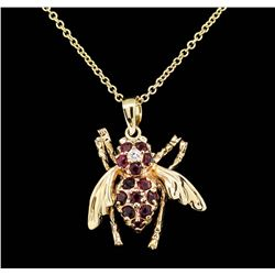 10KT Yellow Gold 0.60 ctw Ruby and Diamond Fly Pendant with Chain