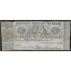 1863 $10 State of Arkansas Treasury Warrant Note