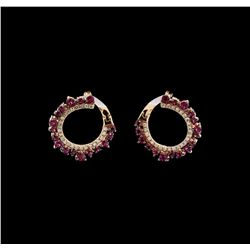 14KT Rose Gold 1.00 ctw Ruby and Diamond Earrings