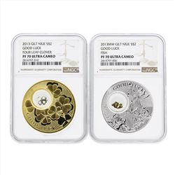 Set of (2) 2013MW Gilt Niue $2 Good Luck Silver Coins NGC PF70 Ultra Cameo