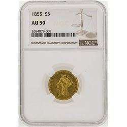 1855 $3 Indian Princess Head Gold Coin NGC AU50