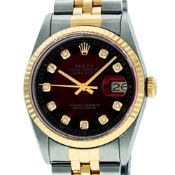 Rolex Mens 36mm Two Tone Yellow Gold Red Vignette Diamond DateJust Wristwatch