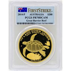 2014-P Australia $200 Great Barrier Reef Gold Coin PCGS PR70DCAM First Strike