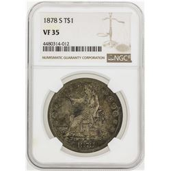 1878-S $1 Trade Silver Dollar Coin NGC VF35