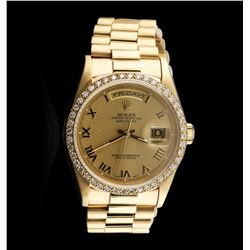 Men's 18KT Yellow Gold Rolex Diamond DayDate Watch Diamond Bezel