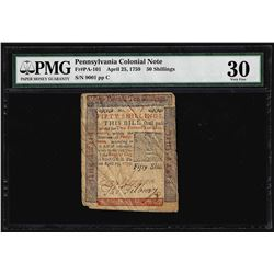 April 25, 1759 Pennsylvania 50 Shillings Ben Franklin Colonial Note PMG Very Fin