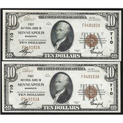 Lot of (2) Consecutive 1929 $10 First National Bank of Minneapolis MN Notes