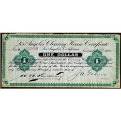 1900 $1 Los Angeles Clearing House Certificate