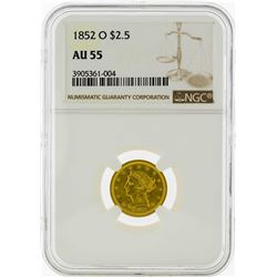 1852-O $2 1/2 Liberty Head Quarter Eagle Gold Coin NGC AU55