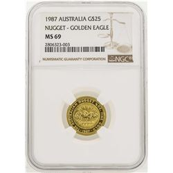 1987 Australia $25 Nugget Golden Eagle Gold Coin NGC MS69