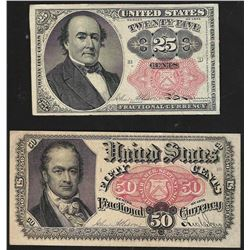Set of 1874 Twenty-Five & Fifty Cent 5th Issue Fractional Notes