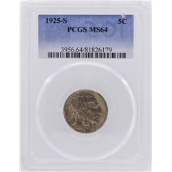 1925-S Buffalo Nickel Coin PCGS MS64