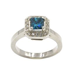 18KT White Gold 1.21 ctw Fancy Blue Princess Cut Diamond Solitaire Engagement Ri