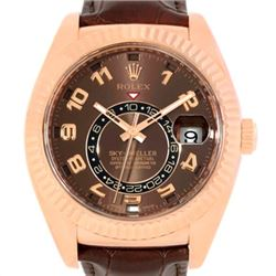 Rolex Sky-Dweller Everose Chocolate Brown Rose Gold Mens Watch