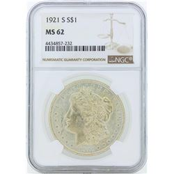 1921-S $1 Morgan Silver Dollar Coin NGC MS62