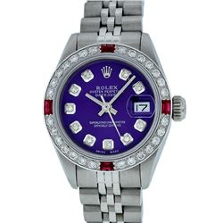 Rolex Stainless Steel Purple Diamond and Ruby DateJust Ladies Watch