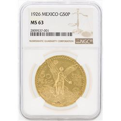 1926 Mexico 50 Pesos Gold Coin NGC MS63