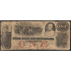 1861 $1 The Bank of the State South Carolina Obsolete Note