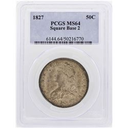 1827 Capped Bust Half Dollar Coin Square Base 2 PCGS MS64