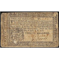 April 10, 1777 Pennsylvania 12 Shillings Colonial Currency Note