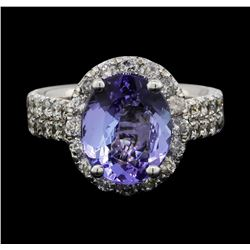 14KT White Gold 3.29 ctw Tanzanite and Diamond Ring