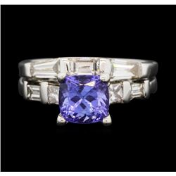 14KT White Gold 1.87 ctw Tanzanite and Diamond Ring