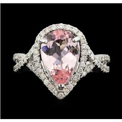 18KT White Gold 2.28 ctw Morganite and Diamond Ring