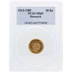 1913 VBP Denmark 10 Kroners Gold Coin PCGS MS65