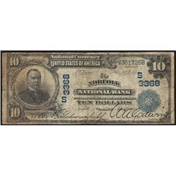 1902 $10 Norfolk National Bank Currency Note CH# 3368