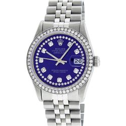 Rolex Mens 36mm Stainless Steel Purple String Diamond Datejust Wristwatch