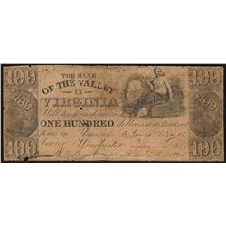 1800's $100 The Bank of the Valley in Virginia Obsolete Note