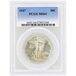 1937 Walking Liberty Half Dollar Coin PCGS MS64