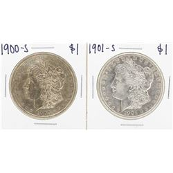 Lot of 1900-S & 1901-S $1 Morgan Silver Dollar Coins