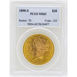 1898-S $20 Liberty Head Double Eagle Gold Coin PCGS MS62