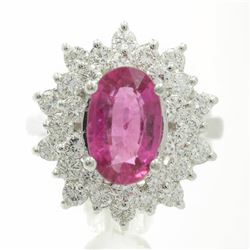14KT White Gold 3.66 ctw Round Cut Rubellite and Diamond Flower Ring