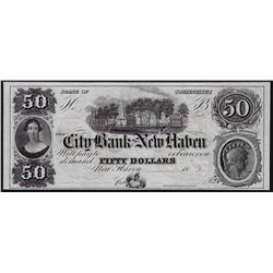 1800's $50 City Bank of New Haven Obsolete Note