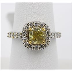 14KT Two Tone Gold 2.24 ctw Halo Fancy Yellow Cushion and Round Diamond Ring