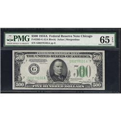 1934A $500 Federal Reserve Note Chicago Fr.2202-G PMG Gem Uncirculated 65EPQ