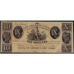 1800's $10 New Orleans Canal & Banking Company Obsolete Note