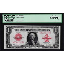 1923 $1 Legal Tender Note Fr. 40 PCGS Gem New 65PPQ