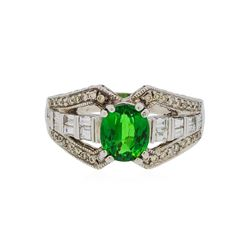 14KT White Gold 2.12 ctw Tsavorite and Diamond Ring