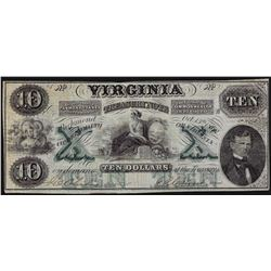 1862 $10 Virginia Treasury Note Obsolete Bank Note
