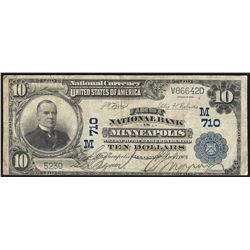 1902 $10 First National Bank in Minneapolis Currency Note CH# 710