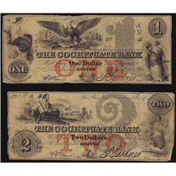 Set of 1851 $1 & $2 The Cochituate Bank Obsolete Notes
