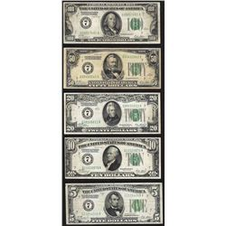 Set of (5) 1928 Federal Reserve Notes